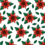 orange flowers leaves foliage decoration seamless pattern - 184327176