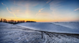 winter field. picturesque hilly field - 184327350