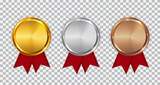 Champion Gold, Silver and Bronze Medal Template with Red Ribbon. Icon Sign of First, Second  and Third Place Isolated on Transparent Background. Vector Illustration - 184327544