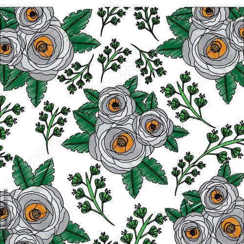 poppy flowers bud botanical decoration pattern vector illustration