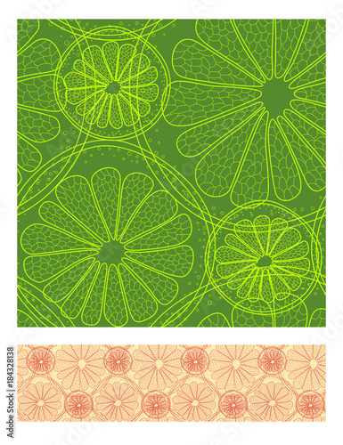 Abstract natural seamless color pattern with citrus in section. Vector illustration. - 184328138