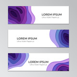 Three horizontal banners with abstract papercut design. Corporate template with multi layers of paper. Trendy ultra violet color scheme. - 184331954