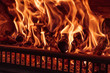 Fire in the fireplace, close up