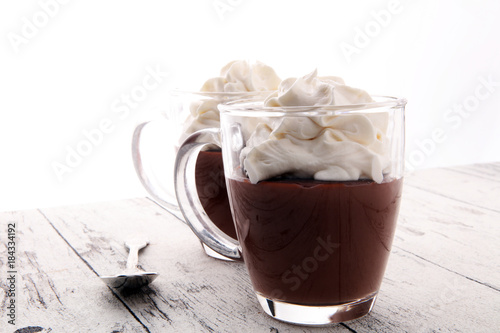 Canvas Chocolade Hot chocolate or coffee with whipped cream in glass.