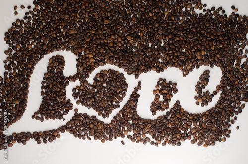 Plexiglas Koffiebonen coffee beans, linen rope
