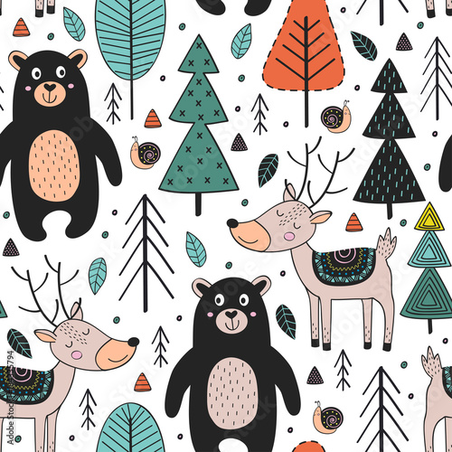 mata magnetyczna seamless pattern with animals in forest Scandinavian style - vector illustration, eps