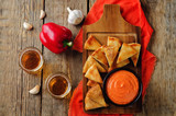 Roasted Red Bell Pepper Feta cheese dip with roasted pita - 184337968