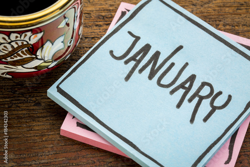 January, reminder note with coffee Poster
