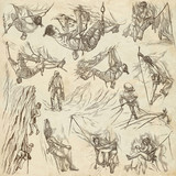 Climbing, Climbers - An hand drawn collection. Pack of freehand sketches, line art. - 184344555