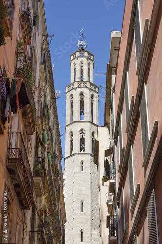 Aluminium Barcelona Bell Tower Past Alleyway