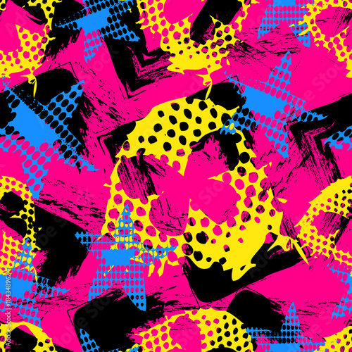 Deurstickers Vlinders in Grunge Abstract seamless grunge sport pattern for girls,boys.Creative vector background with butterfly, stars, geometric figures. Funny butterfly wallpaper for textile and fabric. Fashion grunge sport style.