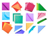 Colored paper napkins collection isolated with clipping path - 184349926