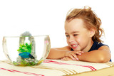 The little girl looks at the fish that swim in the aquarium. - 184352316
