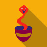 Charmed Cobra Snake Coming Out Of The Basket - 184359719