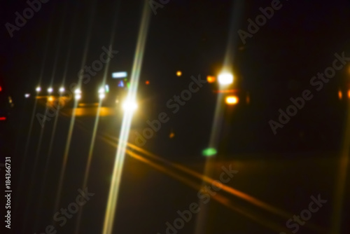 Foto op Aluminium Nacht snelweg Car Driving At Night With Blur Effect