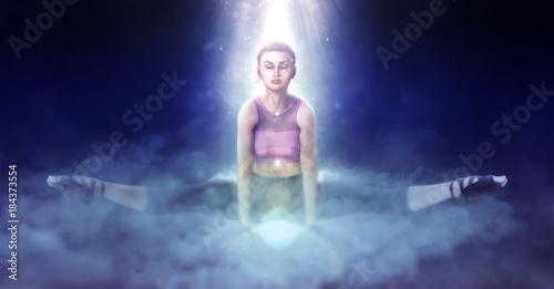 Naklejka Beautiful girl doing yoga on fantasy clouds 3d illustration