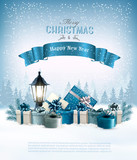 Merry Christmas Background with branches of tree and gift boxes. Vector - 184374581