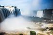 Waterfall Cataratas del Iguazu on Iguazu River, Brazil - 184376959