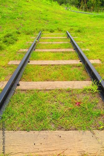 Foto op Plexiglas Spoorlijn 線路と公園の風景2