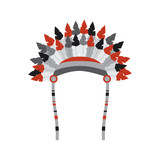 war bonnet bird feather hat traditional native indian vector illustration - 184387346