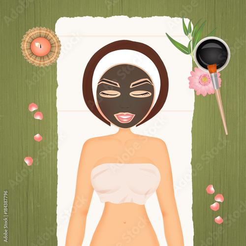 illustration of mud mask - 184387796