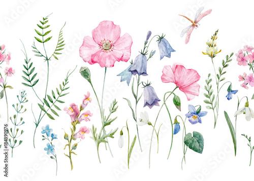 Watercolor floral vector pattern - 184390976