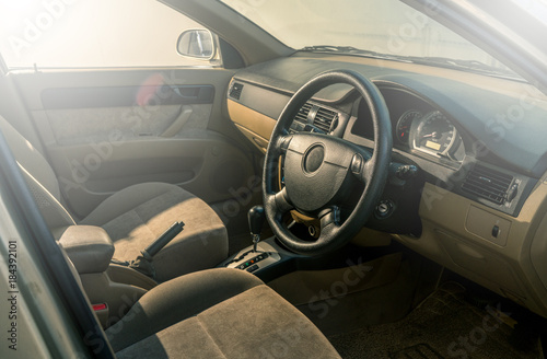 Poster Clean console modern car, black indoor design, copy space.