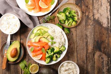 bowl with rice,avocado,broccoli and salmon