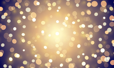 Abstract light confetti with glitter glow effect on golden background. Vector defocused shine or golden and white sparkling lights glow bokeh for Christmas or birthday holiday background template