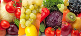 Panoramic collection fresh vegetables and fruits isolated on white .