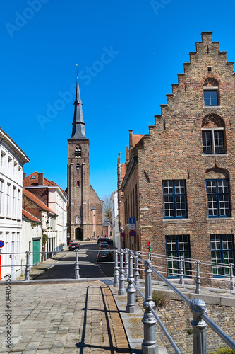 Plexiglas Brugge Panorama with cathedral tower and traditional houses in popular belgian destination, Bruges, Belguim