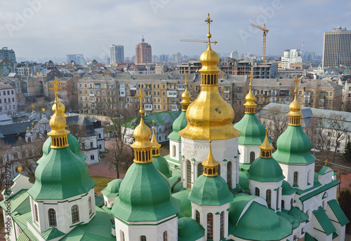 Staande foto Kiev Ancient cathedral in the modern city Kyiv