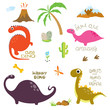 Dinosaur footprint, Volcano, Palm tree, Stones, Bone and Cactus - 184408331