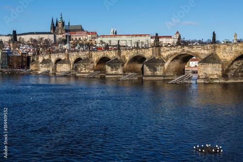 Naklejka Charles bridge and Prague castle