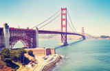 Panoramic picture of the Golden Gate Bridge, color toned image, San Francisco, USA.