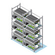 Isometric Crypto Currency Mining Farm Concept