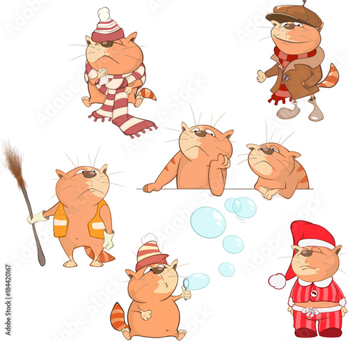 Foto op Canvas Babykamer Set Cartoon Illustration. A Cute Cats for you Design