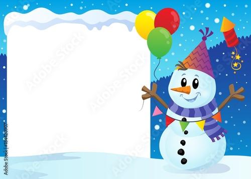 Plexiglas Voor kinderen Snowy frame with party snowman 1
