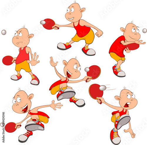 Foto op Canvas Babykamer Illustration of Cute Little Boys. Table Tennis