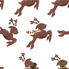 Seamless pattern with flying deers. Wallpapers with running deer. Prints for textiles with deer santa. Christmas seamless texture. Wrapping paper.