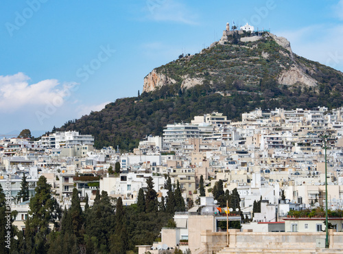 Fridge magnet View of Likavitos hill and city buildings of Athens