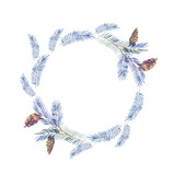Watercolor wreath with spruce branches - 184430968