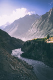 beautiful mountain river in valley and majestic mountains in indian himalayas, keylong region