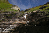 beautiful waterfall on scenic rocks in Indian Himalayas, Rohtang Pass