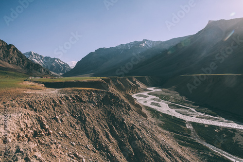 Poster Groen blauw beautiful mountain valley with river in Indian Himalayas, Ladakh region