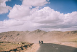 two motorcyclists on mountain road in Indian Himalayas, Ladakh region