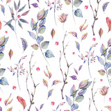 Watercolor natural seamless pattern with twigs - 184435186