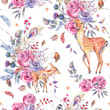 Watercolor floral semless pattern with cute deer