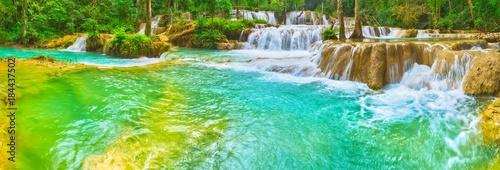 Aluminium Groene koraal Tat Sae Waterfalls. Beautiful landscape, Laos. Panorama