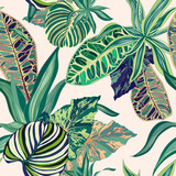 Tropical Jungle Vector Seamless Pattern - 184437938